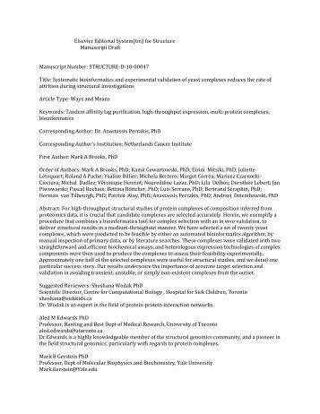 Elsevier Editorial System(tm) for Structure Manuscript Draft ...