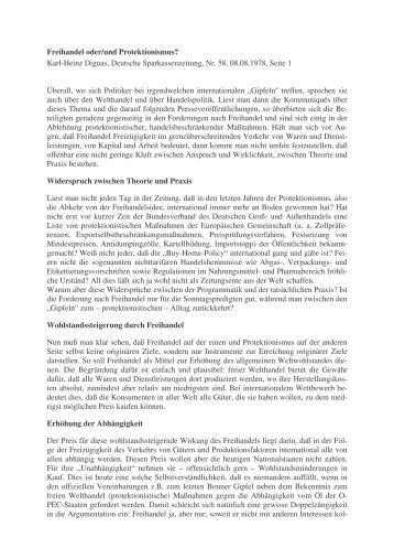 Freihandel oder - Karl-Heinz Dignas