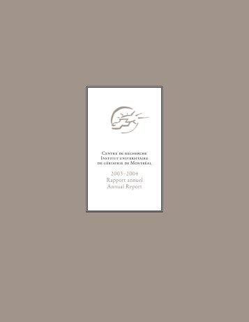 Rapport annuel CRIUGM 2003-2004
