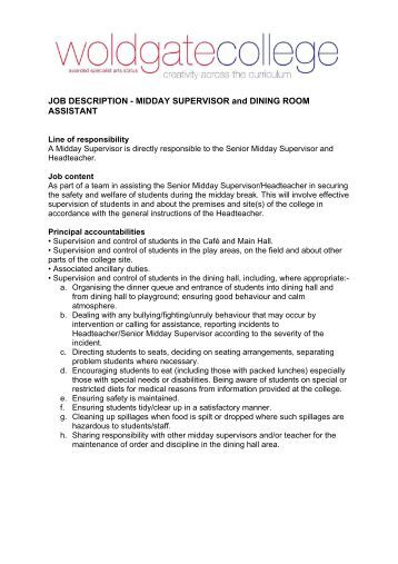 Fundraising call centre supervisor job description for Dining room manager job description