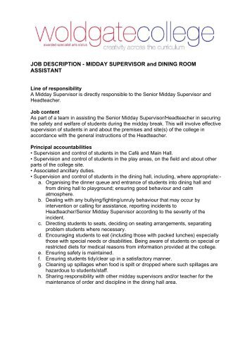 Basic generic job description senior housekeeping for Dining room manager definition