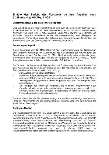 Erläuternder Bericht des Vorstands zu den Angaben nach 289 IV ...
