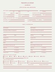 Application Form - Friends Academy