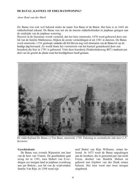 DE BATAU, KASTEEL OF EDELMANSWONING? - Museum ...
