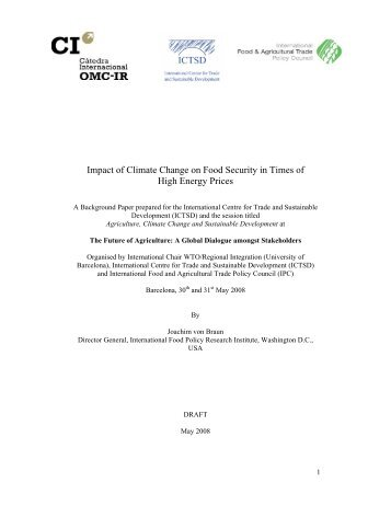 Impact of Climate Change on Food Security in Times of High ... - ictsd