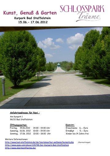 Kunst, Genuß & Garten Kurpark Bad Staffelstein 15.06.– 17.06.2012