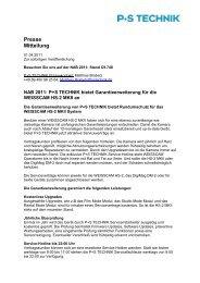 Presse Mitteilung - P+S TECHNIK