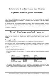Règlement intérieur général apprenants - Le Centre Forestier de la ...