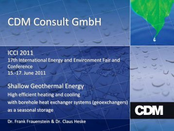 Shallow Geothermal Systems - ICCI