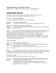 Indiana Healthcare Leadership Conference April 9 ... - State of Indiana