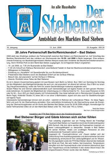 20 Jahre Partnerschaft Berlin/Reinickendorf - in Bad Steben