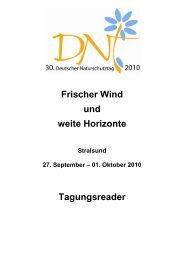 Tagungsreader (Kurzfassungen, PDF) - Deutscher Naturschutztag
