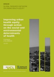 Final Report of the Global Research Network on Urban Health Equity