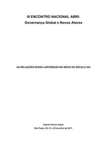 III ENCONTRO NACIONAL ABRI - SciELO Proceedings
