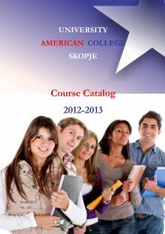 Course Catalog 2012-2013 - University American College Skopje