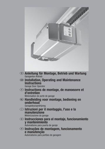 Anleitung für Montage, Betrieb und Wartung Installation ... - Hormann.fr