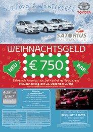 bis Donnerstag, den 23. Dezember 2010! - Satorius Automobile GmbH