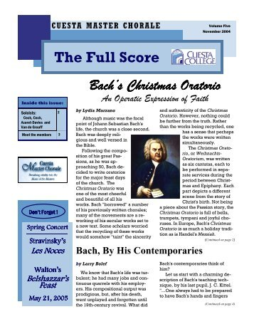 Bach's Christmas Oratorio continued from page 1 - Cuesta Master ...