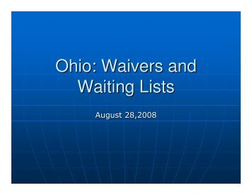 Ohio: Waivers and Waiting Lists