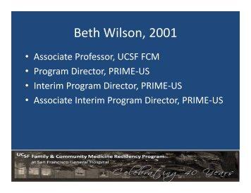 Beth Wilson, 2001 - FHOP