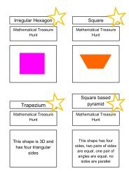 Treasure Hunt - shapes - Mr Barton Maths