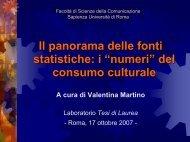 Il panorama delle fonti statistiche - Cultura in Cifre - Istat