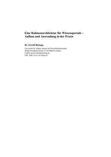Eine Rahmenarchitektur für Wissensportale - Community of ...