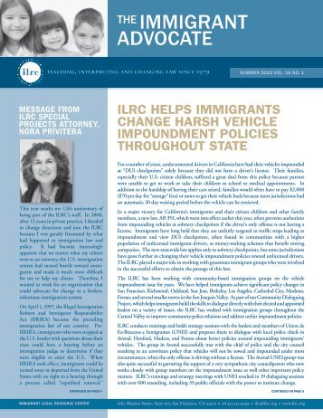 The Immigrant Advocate - Summer 2012, Vol. 16, No. 1 - ILRC