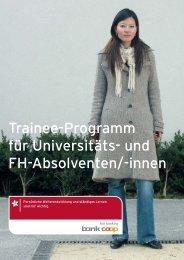 Trainee-Programm für Universitäts- und FH-Absolventen - Bank Coop