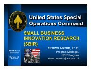 United states special operations command - sbtdc