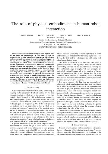The role of physical embodiment in human-robot - USC Robotics ...