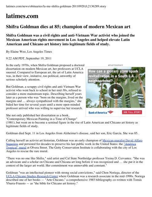 Shifra Goldman dies at 85; champion of modern Mexican art ...