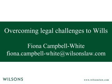Overcoming legal challenges to Wills - Wilsons