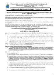 Edital de Convocação para as provas Objetivas do Grupo II - Peruíbe