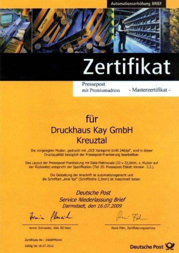 Data-Matrixcode-Zertifikat (PDF) - Druckhaus Kay Gmbh