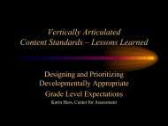 Vertically Articulated Content Standards - Center for Assessment