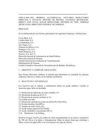nmx-v-006-1983. bebidas alcohólicas. azúcares reductores directos ...