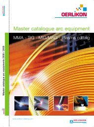 MMA - TIG - MIG/MAG - Plasma cutting - Oerlikon