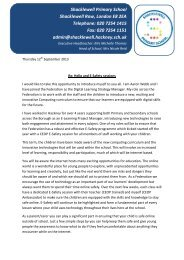 E-Safety Session Letter - Shacklewell Primary School
