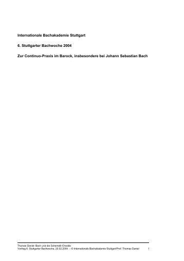 Internationale Bachakademie Stuttgart 6. Stuttgarter Bachwoche ...