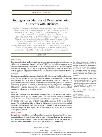 Strategies for Multivessel Revascularization in Patients with Diabetes