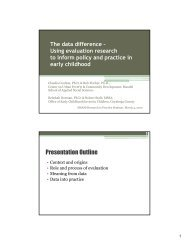 Using evaluation research to inform policy and practice in early ...