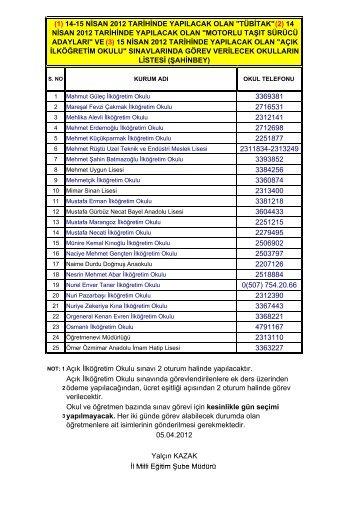 14-15 Nisan 2012 Öğretmenleri Görevlendirilen Okullar
