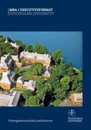 MBA I EXECUTIVEFORMAT StockholmS univerSitet