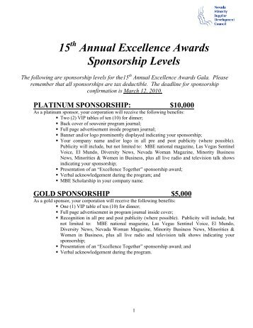 15 Annual Excellence Awards Sponsorship Levels - Nevada ...