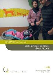 Sortie anticipée du service NÉONATOLOGIE - UZ Brussel: Patientinfo