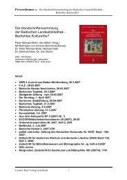 Die Handschriftensammlung der Badischen Landesbibliothek ...