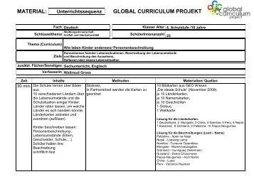 Materialformular - Thema Kinder - Global Curriculum