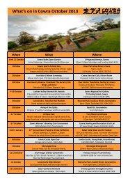 October events - Cowra Tourism