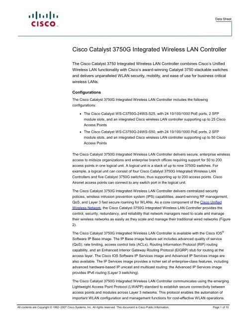 Cisco Catalyst 3750G Integrated Wireless LAN Controller - Psion